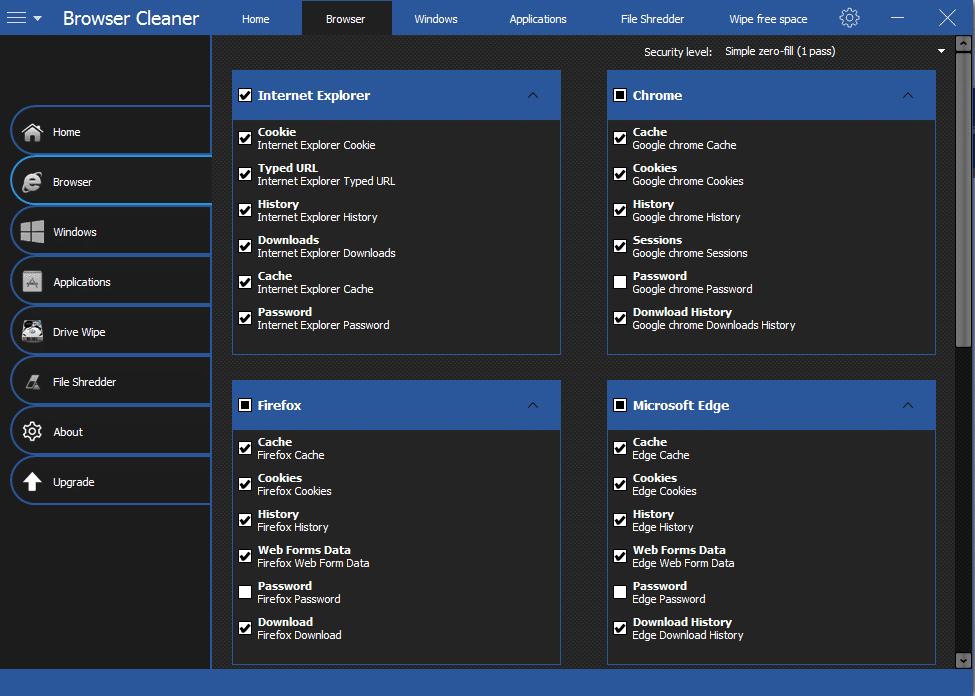 Browser Cleaner support chrome, firefox,edge,iexplorer,opera,safari